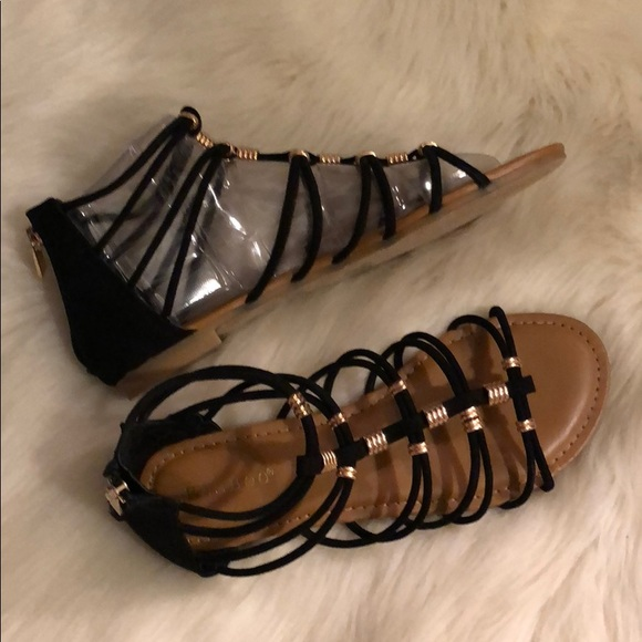 BAMBOO Shoes | Black Gold Gladiator